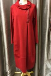 Latte Off Centre Zip Dress Red G09013
