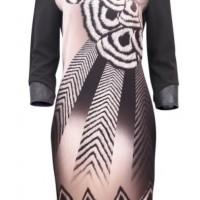 Latte Geometric Panel Dress GG1603
