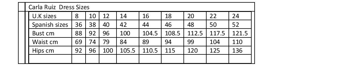 Image result for carla ruiz size guide